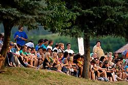Gledalci na dobrodelni nogometni tekmi Sportnega drustva Bilje in Sole Valterja Birse in Tima Matavza za Bolnisnico za otroke s posebnimi potrebami Stara Gora, on July 16, 2010 in Bilje pri Novi Gorici, Slovenia. (Photo by Vid Ponikvar / Sportida)