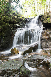 © Licensed to London News Pictures. 10/05/2016. Steeton UK. Buy your own Waterfall for £60,000. Steeton beck waterfall sits in Redding Wood in the village of Steeton near Keighley, the 6 acre wood is for sale including the waterfall. Photo credit: Andrew McCaren/LNP