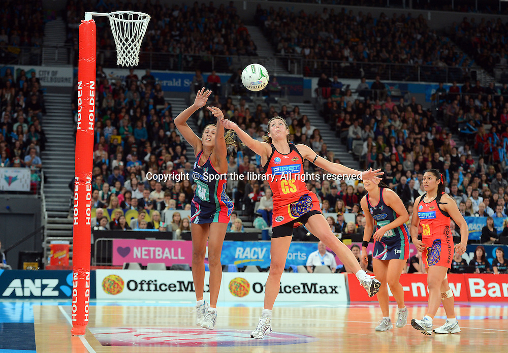 Irene Van Dyk (Magic)<br /> 2012 ANZ Netball Championships / finals<br /> Melbourne Vixens vs WBOP Magic<br /> Sunday July 22nd 2012 <br /> Hisense Arena/ Melbourne Australia <br /> &copy; Sport the library / Jeff Crow