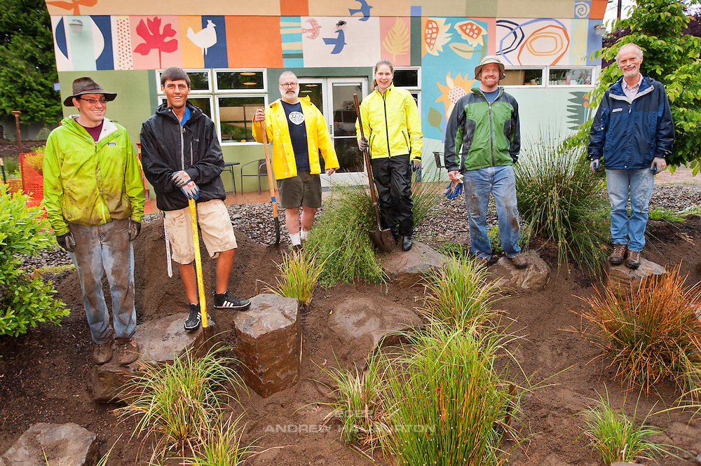 Volunteers at the rain garden work meet (L-R): Josh Lighthipe, Adrian Lucas, Paul Leistner, Laura Vail, Tyson Leggate and Gary Riggs.  Café au Play at Tabor Commons, a project of the Southeast Uplift Neighborhood Coalition (SEUL) and volunteers from Portland's Mt Tabor neighborhood.