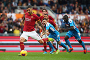 Aleksandar Kolarov of AS Roma shot the penalty during the Italian championship Serie A football match between AS Roma and SSC Napoli at the Olympic Stadium, Saturday, Nov. 2, 2019, in Rome. Roma defeated Napoli 2-1.(Federico Proietti/Image of Sport)