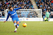 Gillingham FC midfielder Bradley Dack (23) takes a freekick during the EFL Sky Bet League 1 match between Gillingham and Shrewsbury Town at the MEMS Priestfield Stadium, Gillingham, England on 28 January 2017. Photo by Andy Walter.