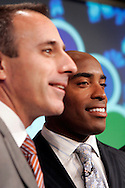 "Former New York Giants running back Tiki Barber speaks to members of the media with co-host Matt Lauer(L) as he is introduced as a news correspondent for NBC's ""The Today Show"" in New York, February 13, 2007. Barber will also be a sports analysts for NBC's ""Football Night in America""."