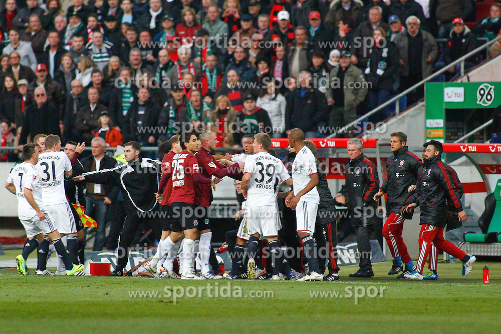 23.10.2011, AWD-Arena, Hannover, GER, 1.FBL, Hannover 96 vs FC Bayern Muenchen, im Bild auseinandersetzungen nach dem Foul an Sergio Pinto (Hannover #7) von Jerome Boateng (Muenchen #17) .// during the match from GER, 1.FBL, Hannover 96 vs FC Bayern Muenchen on 2011/10/23, AWD-Arena, Hannover, Germany. .EXPA Pictures © 2011, PhotoCredit: EXPA/ nph/  Schrader       ****** out of GER / CRO  / BEL ******