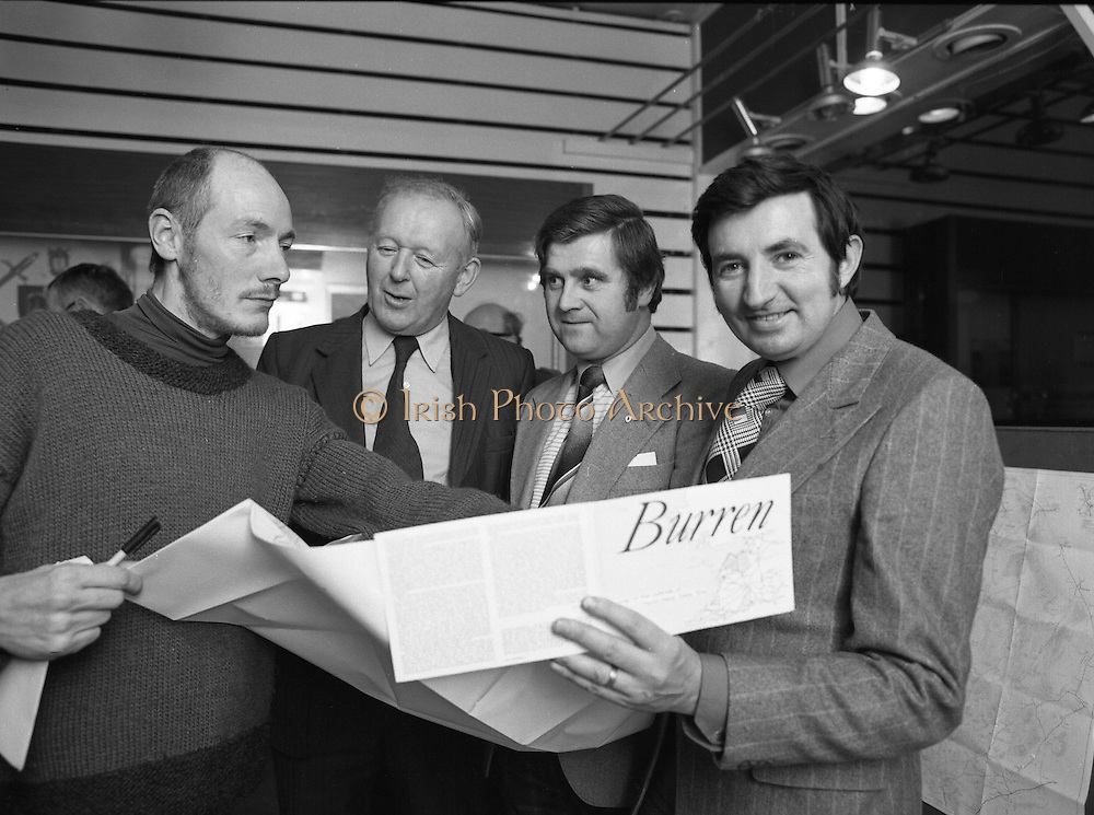 A new map of the Burren region of County Clare, by Mr. Tim Robinson, was launched at a reception held by Shannonside Tourism in Dublin. The Burren is a limestone plateau occupying an area of over one hundred square miles in North Clare.  Pictured from left to right,  Mr. Tim Robinson, Deputy Frank Taylor, Mr Martin Bradley and Deputy Brendan Daly.
