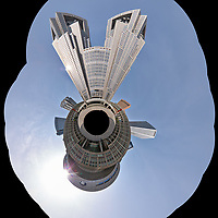 Morning Little Planet View of Citizen's Plaza and the Metropolitan Government Building. Composite of 35 images taken with a Leica CL camera and 18 mm f/2.8 lens (ISO 100, 18 mm, f/11, 1/125 sec). Raw images processed with Capture One Pro and AutoPano Giga Pro.
