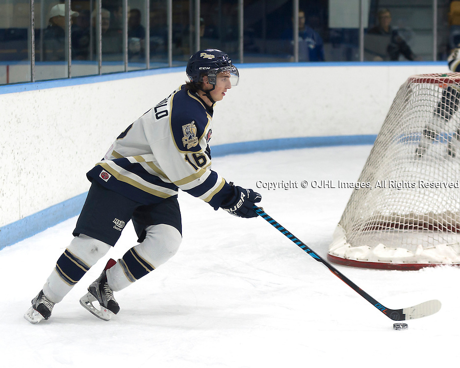 MARKHAM, ON - OCT 21,  2016: Ontario Junior Hockey League game between the Markham Royals and the Toronto Patriots, Dante Spagnuolo #16 of the Toronto Patriots skates with the puck during the third period.<br /> (Photo by Mike DiCarlo / OJHL Images)