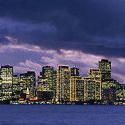 San Francisco California USA skyline view at dusk across San Francisco Bay from Treasure Island