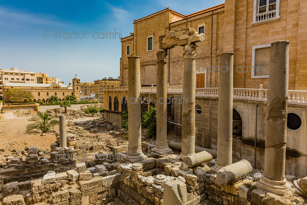 Roman Cardo Maximus ruins in Beirut capital city of Lebanon Middle east