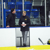Regina Cougars women's Hockey Head Coach Sarah Hodges in action during the Women's Hockey home game on October 14 at Co-operators arena. Credit: Arthur Ward/Arthur Images