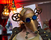 One of the many Las Vegas Steampunk Guild members costumed during First Friday activities as they present a Steampunk Wonderland art competition.