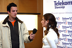 Journalist of Siol Sportal TV Rok Viskovic interviewing Marija Sestak at press conference of Athletic Federation of Slovenia (AZS) before the 12th IAAF World Indoor Championships, Valencia, Spain, 7 ? 9 March 2008, on March 3, 2008 in M-Hotel, Ljubljana, Slovenia. (Photo by Vid Ponikvar / Sportal Images)