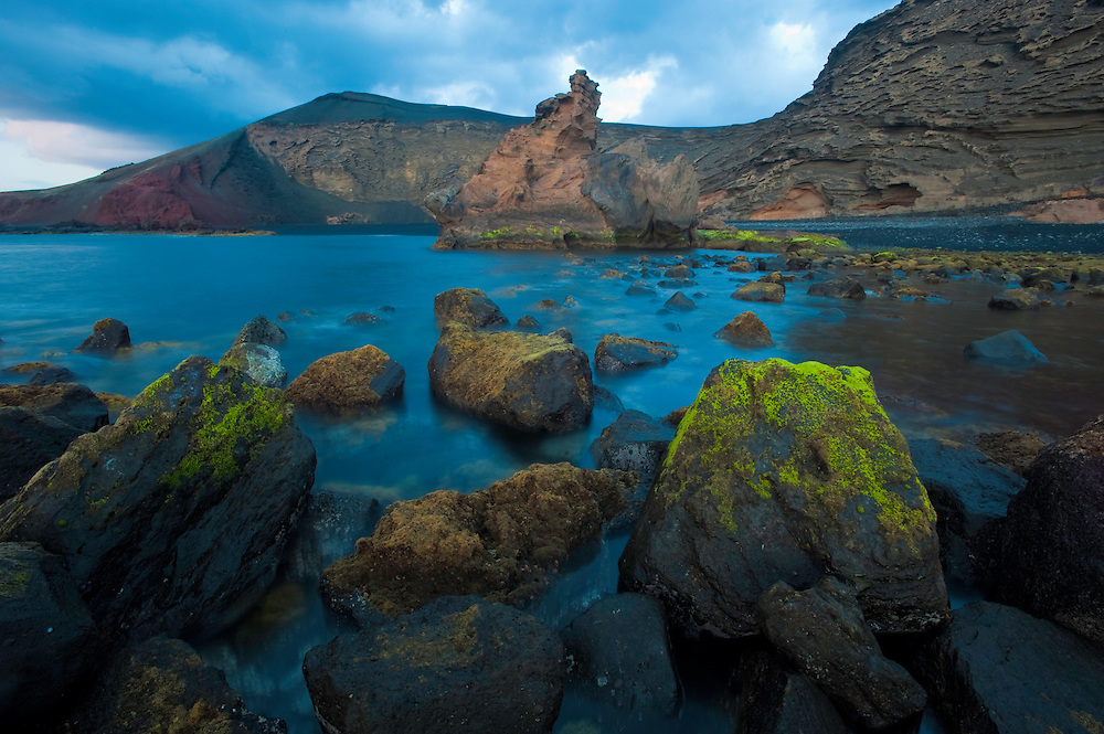 Coast around El Golfo, Timanfaya National Park, in Lanzarote Island, Canary Islands, Spain.