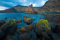 Coast around El Golfo, Timanfaya National Park, in Lanzarote Island, Canary Islands, Spain.