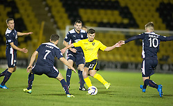 Livingston Mark Burchill surrounded by Falkirk. <br /> Livingston 0 v 1 Falkirk, Scottish Championship played13/12/2014 at The Energy Assets Arena.