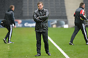 MK Dons manager Karl Robinson during the Sky Bet Championship match between Milton Keynes Dons and Rotherham United at stadium:mk, Milton Keynes, England on 9 April 2016. Photo by Dennis Goodwin.