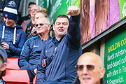 A Preston North End fan celebrates after a goal by Preston North End forward Paul Gallagher (12) during the EFL Sky Bet Championship match between Charlton Athletic and Preston North End at The Valley, London, England on 3 November 2019