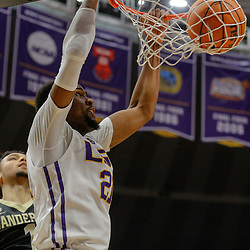 Feb 20, 2018; Baton Rouge, LA, USA; LSU Tigers forward Aaron Epps (21) dunks over Vanderbilt Commodores guard Payton Willis (1) during the second half at the Pete Maravich Assembly Center. LSU defeated Vanderbilt 88-78. Mandatory Credit: Derick E. Hingle-USA TODAY Sports