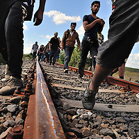 Refugees walking along an old railway line, just after passing across the border with Serbia. Refugees, mostly from Syria and Afghanistan, simply walked through a hole in the border fence with Serbia, only to be stopped by police and held in a field a kilometre away close to the town of Röszke.  The official border reception centres are full and refugees must camp on the ground, dependent on food donated by volunteer groups