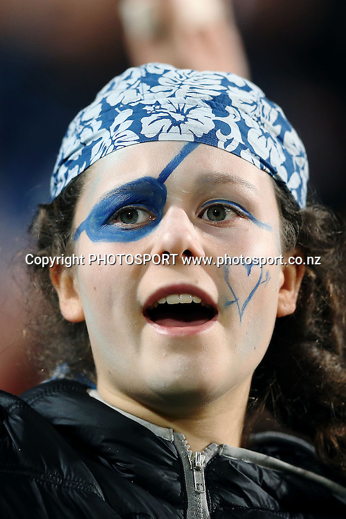 Blues fans. Super Rugby rugby union match, Blues v Sharks at North Harbour Stadium, Auckland, New Zealand. Friday 23rd May 2014. Photo: Anthony Au-Yeung / photosport.co.nz