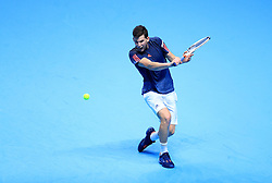 Austria's Dominic Thiem in action against Serbia's Novak Djokovic during day one of the Barclays ATP World Tour Finals at The O2, London.
