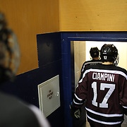 Daniel Ciampini, Union College, leaves the rink after the first period during the Yale Vs Union College, Men's College Ice Hockey game at Ingalls Rink, New Haven, Connecticut, USA. 28th February 2014. Photo Tim Clayton