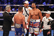 David Haye and Tony Bellew eye ball each other before the fight at the O2 Arena, London, United Kingdom on 5 May 2018. Picture by Phil Duncan.