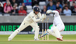 West Indies Jermaine Blackwood is stumped by England's Jonny Bairstow during day three of the First Investec Test match at Edgbaston, Birmingham.