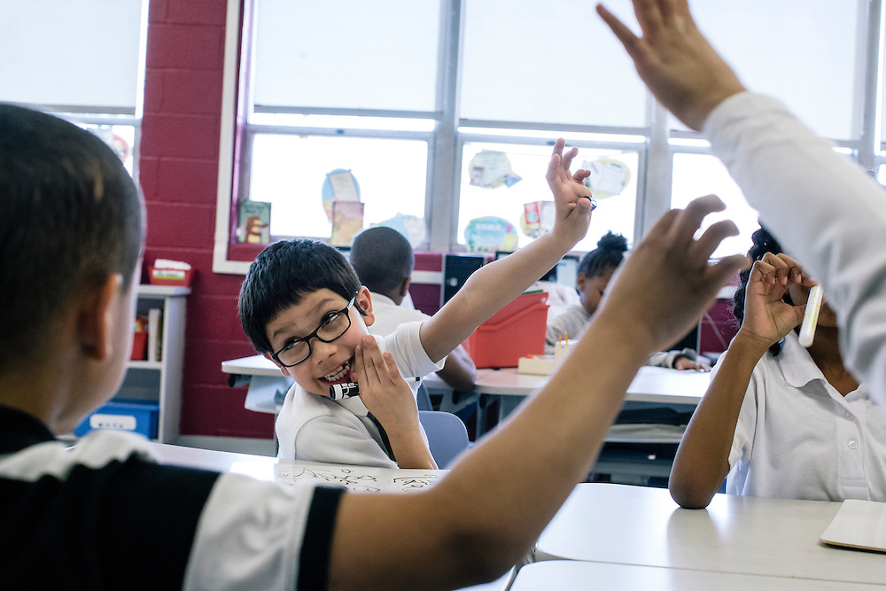 Eric Sanchez, 7, whose  father is in the Army stationed at Joint Base Anacostia-Bolling in SW Washington, D.C., answers questions during class at Leckie Elementary School. Nearly a third of the school is attended by the children of military families.