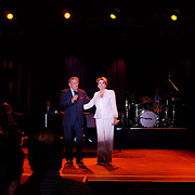 Legendary jazz singer Tony Bennett and Leader Nancy Pelosi at a concert reception celebrating Pelosi's 25 years of Leadership in the US Congress. Monday, September 3, 2012 at The Fillmore Music Center in Charlotte, NC during the Democratic National Convention.