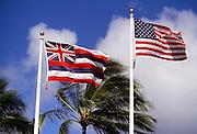 Hawaiian and american flag