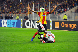 March 8, 2019 - Rades, Tunisia - Mohamed El Houni Libyan player of (EST)and Abou Camara(27) during the  Match of the 5th day of the group phase of the CAF Champions League, between L'Esperance sportive de Tunis (EST) and Horoya Conakry (HAC) of Guinea Friday 8 March Radès.EST won by 2/0 ..photo: Yassine Mahjoub. (Credit Image: © Chokri Mahjoub/ZUMA Wire)
