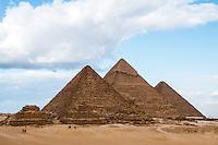 The three Pyramids of Giza, Egypt.