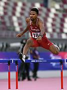 Bassem Hemeida (QAT) places fourth in the 400m hurdles in <br /> 49.45 during the Asian Athletics Championships in Doha, Qatar, Saturday, April,21, 2019. (Jiro Mochizuki/Image of Sport)