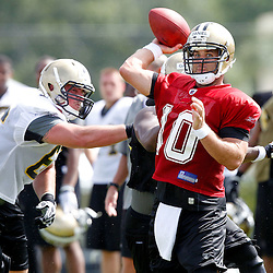 July 29, 2011; Metairie, LA, USA; New Orleans Saints quarterback Chase Daniel (10) during the first day of training camp at the New Orleans Saints practice facility. Mandatory Credit: Derick E. Hingle