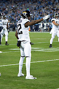Jacksonville Jaguars wide receiver Dede Westbrook (12) points toward the end zone to signal first down after catching a second quarter pass for a gain of 10 yards to the Tennessee Titans 14 yard line during the week 14 regular season NFL football game against the Tennessee Titans on Thursday, Dec. 6, 2018 in Nashville, Tenn. The Titans won the game 30-9. (©Paul Anthony Spinelli)