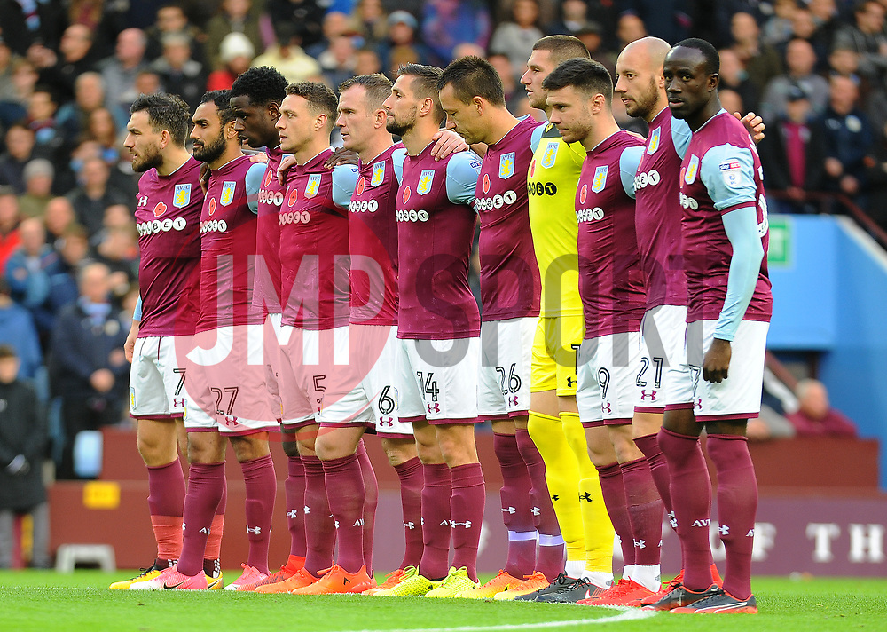 Aston Villa players stand for a minutes silence - Mandatory by-line: Nizaam Jones/JMP - 04/11/2017 - FOOTBALL - Villa Park - Birmingham, England - Aston Villa v Sheffield Wednesday - Sky Bet Championship
