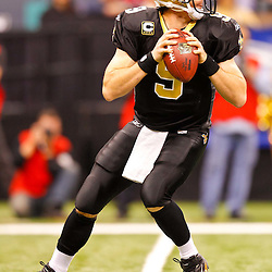 January 2, 2011; New Orleans, LA, USA; New Orleans Saints quarterback Drew Brees (9) against the Tampa Bay Buccaneers during the second quarter at the Louisiana Superdome. Mandatory Credit: Derick E. Hingle