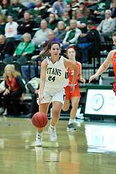 BLOOMINGTON, IL - December 15: Kendall Sosa during a college women's basketball game between the IWU Titans  and the Carroll Pioneers on December 15 2018 at Shirk Center in Bloomington, IL. (Photo by Alan Look)