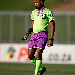 Referee Mr Tom Abongile during the Premier Soccer League (PSL) promotion play-off  match between  Royal Eagles and Maritzburg United F.C. at the Chatsworth Stadium Durban.South Africa,29,05,2019