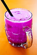 Purple dragon fruit shake at Maxwell Road Hawker Centre
