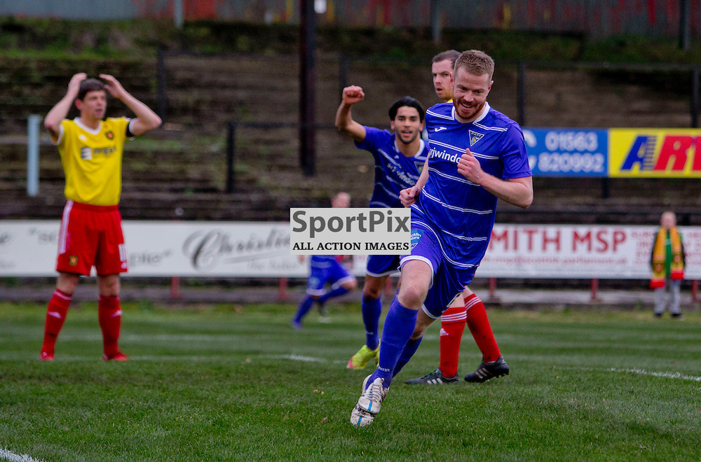 Albion Rovers v Dunfermline Athletic SPFL League One Season 2015/16 Cliftonhill 21 November 2015<br /> Andy Geggan makes it 1-0<br /> CRAIG BROWN | sportPix.org.uk
