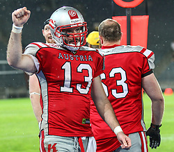 04.06.2014, UPC Arena, Graz, AUT, American Football Europameisterschaft 2014, Gruppe B, Frankreich (FRA) vs Oesterreich (AUT), im Bild Jubel von Thomas Haider, (Team Austria, WR, #13) // during the American Football European Championship 2014 group B game between France vs Austria at the UPC Arena, Graz, Austria on 2014/06/04. EXPA Pictures © 2014, PhotoCredit: EXPA/ Thomas Haumer