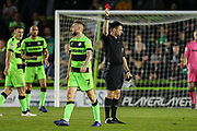 Forest Green Rovers Carl Winchester(7) is shown a red card, sent off during the EFL Sky Bet League 2 second leg Play Off match between Forest Green Rovers and Tranmere Rovers at the New Lawn, Forest Green, United Kingdom on 13 May 2019.