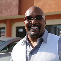 LAS VEGAS, NV - APRIL 14: CEO of Mayweather Promotions Leonard Ellerbe speaks to boxing fans at a workout by WBC/WBA welterweight champion Floyd Mayweather Jr. at the Mayweather Boxing Club on April 14, 2015 in Las Vegas, Nevada. Mayweather will face WBO welterweight champion Manny Pacquiao in a unification bout on May 2, 2015 in Las Vegas.  (Photo by Alex Menendez/Getty Images) *** Local Caption *** Leonard Ellerbe