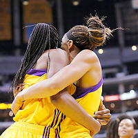 22 June 2014: forward Nneka Ogwumike (30) of the Los Angeles Sparks is congratulated by forward/center Sandrine Gruda (7) of the Los Angeles Sparks during the San Antonio Stars 72-69 victory over the Los Angeles Sparks, at the Staples Center, Los Angeles, California, USA.