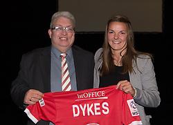 Bristol Academy defender, Loren Dykes presents a shirt to her sponsor Gwyn O'Brien - Photo mandatory by-line: Paul Knight/JMP - Mobile: 07966 386802 - 11/10/2015 - Sport - Football - Bristol - Stoke Gifford Stadium - Bristol Academy WFC End of Season Awards 2015