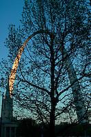 Clock Tower and Gateway Arch at Last Light, Saint Louis, Missouri