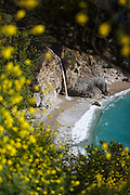Image of a waterfall along the central coast in Big Sur, California