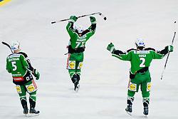 Team HDD Tilia Olimpija celebrate victory during ice-hockey match between HDD Tilia Olimpija and EC Red Bull Salzburg in 20th Round of EBEL league, on November 6, 2011 at Hala Tivoli, Ljubljana, Slovenia. HDD Tilia Olimpija won in overtime 3:2. (Photo By Matic Klansek Velej / Sportida)